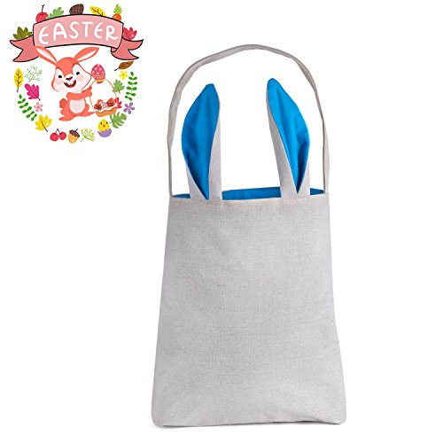 Easter Bunny Bag,HBlife Easter Gift Bag Dual Layer Bunny Ears Design Cotton Cloth Tote Bag Personalizable Easter Eggs Hunts Bag Size 12