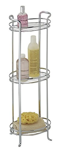 mDesign Free Standing Bathroom Storage Shelves, for Towels, Soap, Candles, Tissues, Lotion, Accessories - 3 Tiers, (Freestanding Soap Lotion)