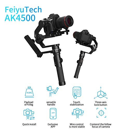 FeiyuTech Model AK4500 3-Axis Stabilized Handheld Gimbal for DSRL & Mirrorless & Cinema Camera Compatible with Sony Canon Nikon, Payload 10.14lb & Hyperlink Remote Controller & LCD Touch Screen
