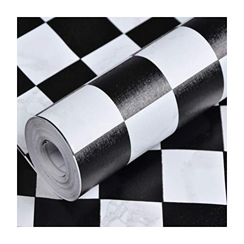 KSWD Wallpaper Black and White Checkered Self Adhesive, 1 roll (0.45mx10m) PVC Waterproof Oil-Proof Moisture Proof Kitchen Bathroom Toilet