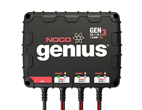 NOCO Genius GENM3 12 Amp 3-Bank Waterproof Smart On-Board Battery