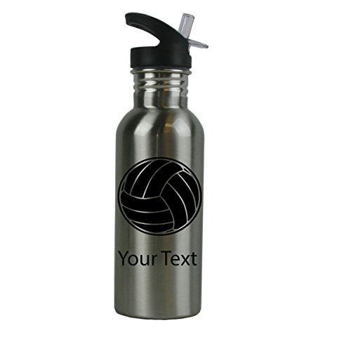 Personalized Custom Volleyball Stainless Steel Water Bottle with Straw Top Lid 20 Ounce Water Bottle Customizable (Black)
