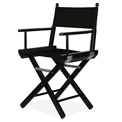 Chaise de réalisateur Noir avec tissu noir – metteur P en bois