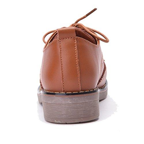 Marron Brogues Cuir de Lacets Chaussures Moonwalker Derby à en Femme Ville vZq7z