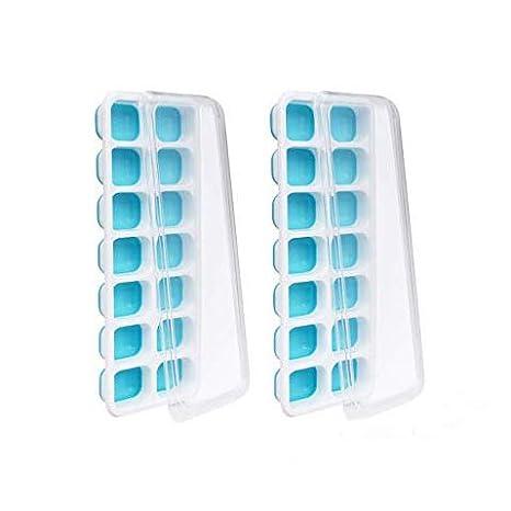 Achort 2 paquetes de bandeja para cubitos de hielo con tapa, sin BPA, con