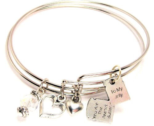 (ChubbyChicoCharms You Are the Peanut Butter to My Jelly Expandable Wire Bangles (Set of 2 Bracelets), 2.5