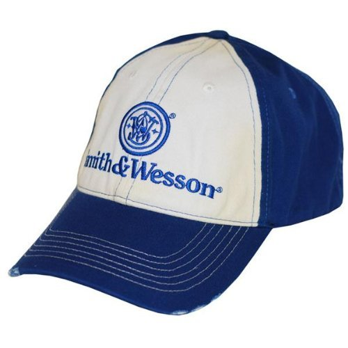 Smith & Wesson Men's Two Tone Distressed Logo Cap-One Size-Blue