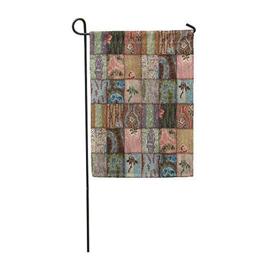 Semtomn Garden Flag 28x40 Inches Print On Two Side Polyester Color Country Patchwork Quilt 3D Abstract Assorted Bedspread Blocks Check Contin Home Yard Farm Fade Resistant Outdoor House Decor Flag