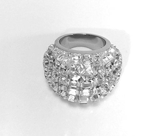 Swarovski Bague Trema grands cristaux transparents Plaqué Palladium Taille 52Petite britannique L US 6Référence 5000804