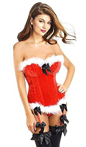 titivate Women's Sexy Christmas Santa Costume Bustier Corset Top (Marabou Bustier)