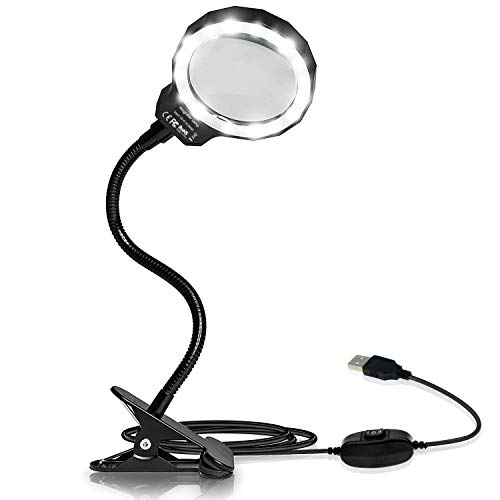 - BicycleStore Magnifying Glass Light Illuminated Magnifier 3X LED Magnified Glass USB Powered Magnifier with Clip for Reading, Crafting, Jewelry Design, Hobby and More