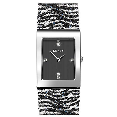 Women's Zebra Print Bracelet Watch Made witih Swarovski Crystals, Silver Plated with Black Stone Set dial, Water Resistant, Extra Clasps, Seksy Collection by Sekonda