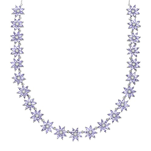 11 ct Natural Tanzanite & Natural White Topaz Floral Necklace in Sterling Silver by Finecraft