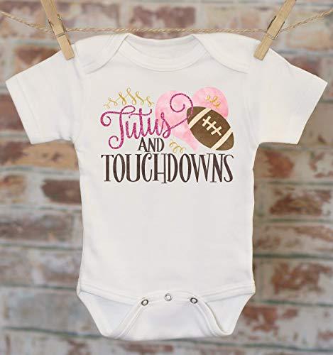 (Girls Football Onesie®, Tutus and Touchdowns, Girls Football Outfit, Cute Baby Bodysuit, Boho Baby Bodysuit, Glitter Onesie)