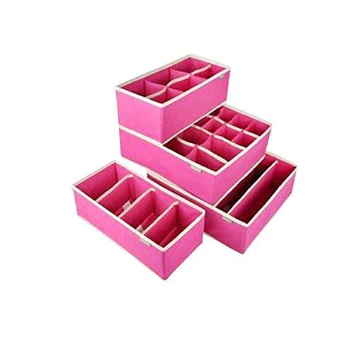 (zeoqo 4PCS Storage Boxes Underwear Divider Drawer Lidded Closet Organizer Ropa Interior Organizador for Ties Socks Shorts Bra,Rose Red Set 4 Pcs)
