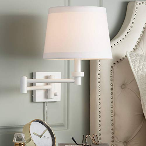 Vero White Plug-in Swing Arm Wall Lamp - 360 Lighting