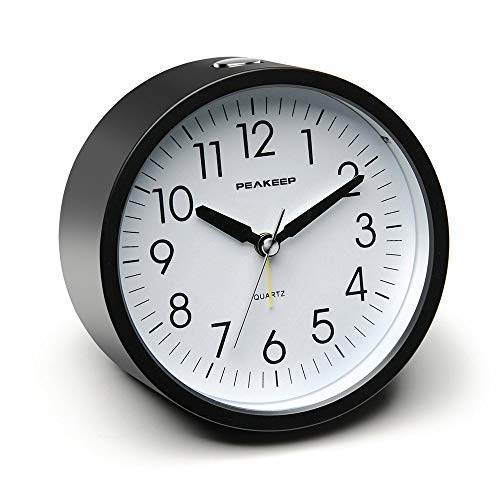 (Peakeep 4 inches Round Silent Analog Alarm Clock Non Ticking, Gentle Wake, Beep Sounds, Increasing Volume, Battery Operated Snooze and Light Functions, Easy Set (Black))