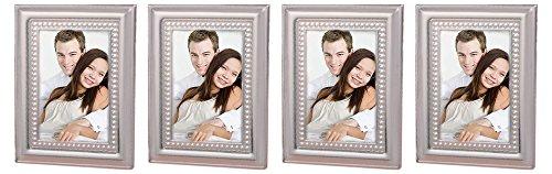 FashionCraft. Set of 4 Matte Silver Metal Place Card/Photo Frames Bundled by Maven Gifts ()