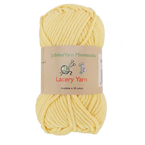 (Bulky Weight Lacery Yarn 100g - 2 Skeins - 100% Cotton - Light Yellow - Color)