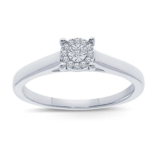 Diamond Promise Engagement Wedding Ring - La Joya 1/20 ct Round White Natural Diamond Sterling Silver Miracle Plate Solitaire Ring Wedding Engagement Ring Promise Ring Mothers Day Jewelry Gift