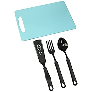 "Francois et Mimi Set of Food-Safe Cutting Mat Board with Kitchen Utensils, 14""x10"""