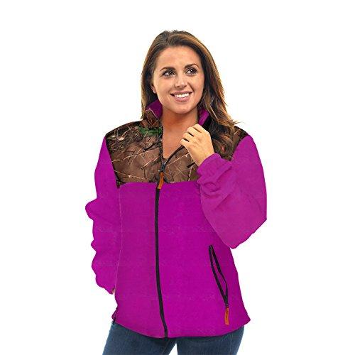 Trail Crest Women's C-Max Fleece Wind Jacket W/ Happy Hunting Magnet, S, Purple & Camo