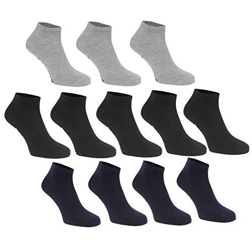 Donnay Mens Trainer Liner Socks Comfortable 12 Pack Stretch Dark Assorted Mens 7-11