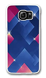 VUTTOO Rugged Samsung Galaxy S6 Case, Shiny Diamond Squares Blue Pink Hard Plastic Case for Samsung Galaxy S6 PC White