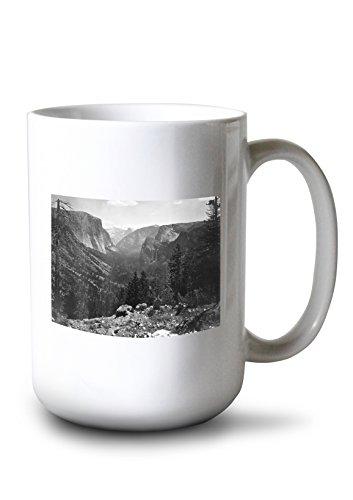 (Lantern Press Yosemite National Park, California - Valley Entrance - Vintage Photograph (15oz White Ceramic Mug))