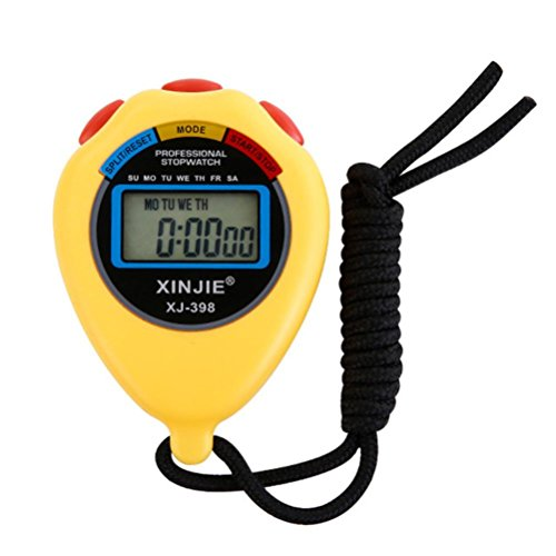 (Mchoice Digital Professional Handheld LCD chronograph Sports Stopwatch Timer Stop Watch (Yellow))