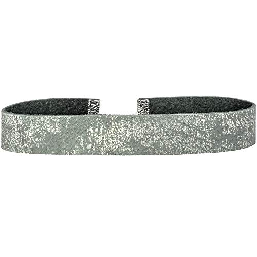 - Twilight's Fancy Dissipating Metallic Suede Leather Choker Necklace (Gray, Large)