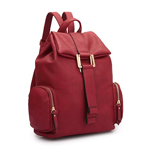 MKY Women College Leather Drawstring Backpack Casual Shoulder Bag Classic Daypack Red