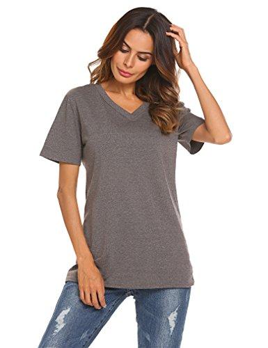 Women's Loose Tee Short Sleeve V Neck T-Shirt Casual Top(Dark Grey, XL)
