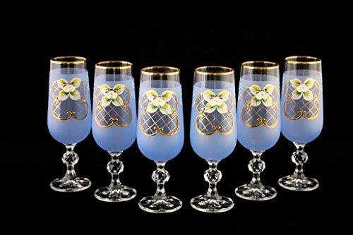 Crystalex 6pc Bohemia Colored Crystal Vintage Enamel Blue Champagne Flute Glasses Set, 24K Gold-Plated, Hand Made ()