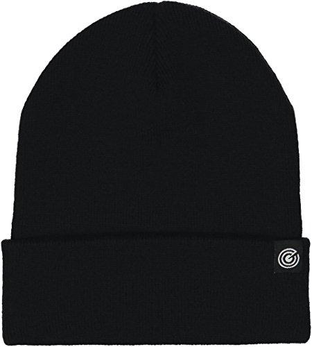 Cuffed Knit Beanie Black (Cuffed Beanie - Warm Daily Beanie Hat with Foldover Cuff - Stylish Winter Colors,Black,One Size)
