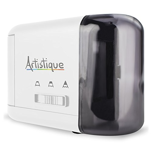 Artistique® Electric Pencil Sharpener - Best Heavy-Duty Automatic Electric Pencil Sharpener for Art, Office & School - Works w/ Lead & Colored Pencils - Uses Battery or Wall Power - White