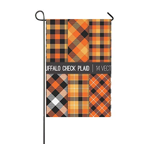 WBSNDB Home Decorative Outdoor Double Sided Halloween Tartan Buffalo Check Plaid Garden Flag,House Yard Flag,Garden Yard Decorations,Seasonal Welcome Outdoor Flag 12 X 18 Inch Spring Summer Gift]()