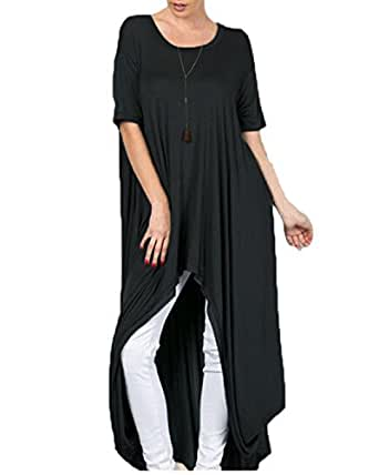 ZANZEA Women's Plain Celeb Crew Neck Short Sleeve Split Kaftan Maxi Dress Tops Black Small