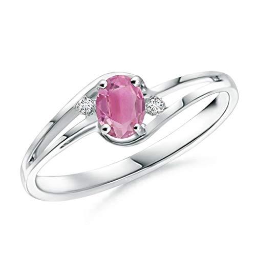 Pink Tourmaline and Diamond Split Shank Ring in 14K White Gold (5x3mm Pink Tourmaline)