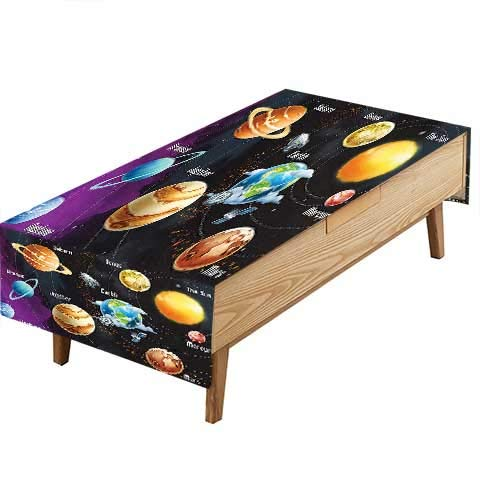 PINAFORE Spillproof Fabric Tablecloth Decor Solar System Planets Milk Way Neptune Venus Mercury Sphere Horizontal Illustratio Garden Kitchen Picnic Living Room Hotel Cafe W70 x L120 INCH