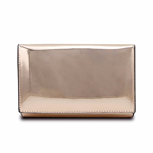 - Jieway Women Clutch Purse Mirror Bright Patent Leather Handbags Shoulder Tote Bags Evening Bag (Rose Gold)