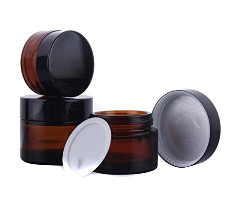 5Pcs 50ml Amber Refillable Glass Cosmetic Containers Jars for Face Cream,Perfum ,Lip Blam, Essential Oils Make up (50ml Amber Glass)