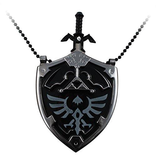 The Legend of Zelda Hyrule Shield Necklace with Removable Mini Sword Black