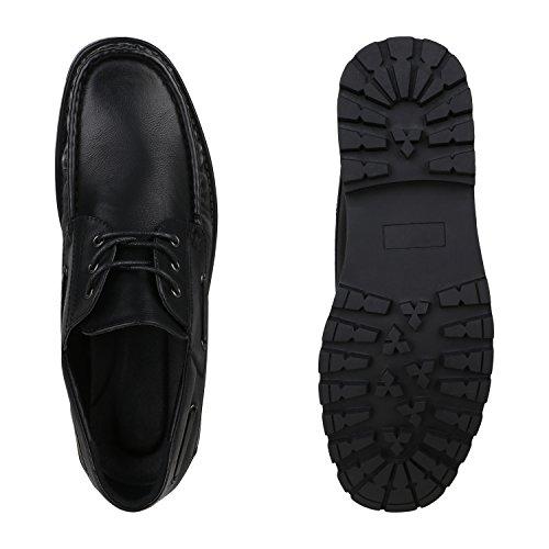Stiefelparadies Bequeme Herren Halbschuhe Bootsschuhe Profil Sohle Schuhe Ösen Flandell Schwarz