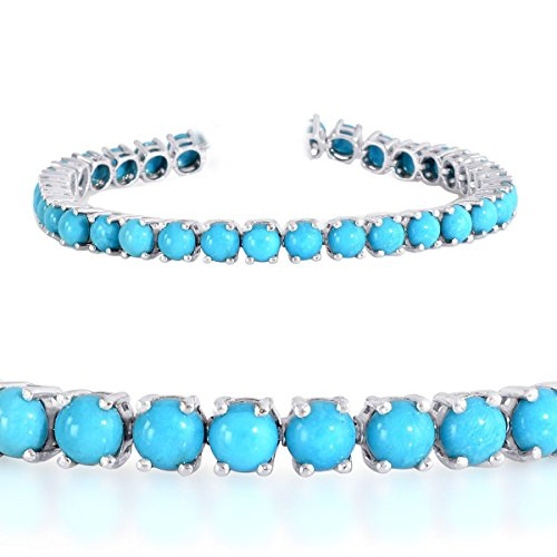 Gempara 14K White Gold Plated 5mm Round Sleeping Beauty Turquoise Tennis Bracelet