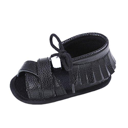Baby Schuhe Auxma Baby Mädchen Sommer Quasten Sandalen Schuhe Prewalker für 3-6 6-12 12-18 Monat (3-6 M, Silber) Schwarz