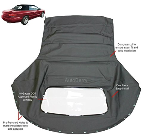 Chrysler Sebring 1996-2006 Convertible top & plastic window Black Sailcloth (1 piece Easy (Chrysler Sebring Convertible Auto)