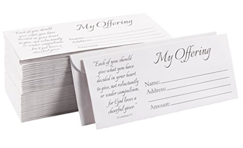 - 100-Pack Church Offering Envelopes - Tithe Envelopes for Church Offerings and Religious Occasions, Square Flap Envelopes, White, 7 x 3 Inches