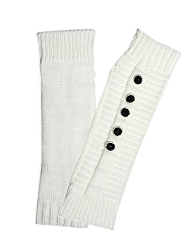 Dahlia Women's Five Faceted Button Acrylic Fingerless Arm Warmer Gloves White