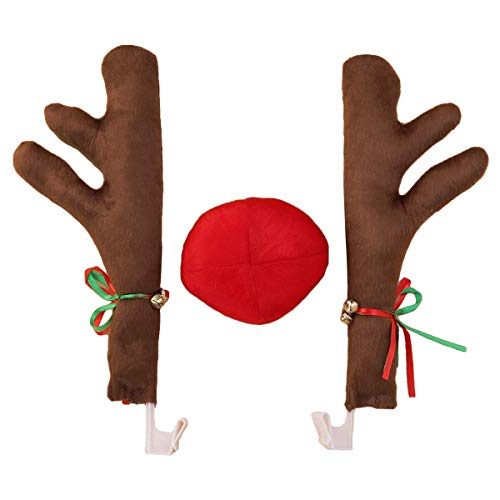 BESTOYARD Car Antlers and Nose Christmas Rudolph car Costume Christmas car Accessories (Brown) -